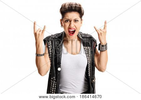 Angry punk girl making rock hand gesture isolated on white background