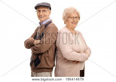 Seniors standing back to back and looking at the camera isolated on white background