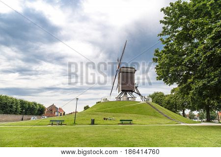 Historical Windmill In Brugge