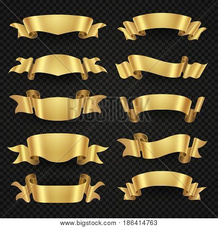 Isolated modern golden shiny 3d ribbon banners vector collection. Set of label ribbon blank, illustration of golden classic ribbons