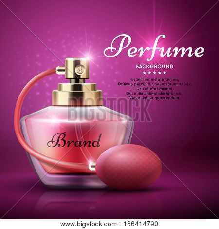 Perfume product vector background with sweet aroma woman fragrance. Aroma bottle perfume, illustration of banner with perfume