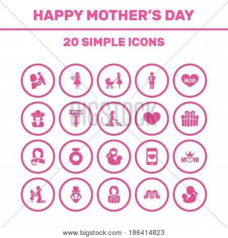 Mothers Day Icon Design Concept. Set Of 20 Such Elements As Missus, Woman And Soul. Beautiful Symbols For Gift, Queen And Kid.
