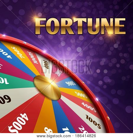 Vector gambling background with 3d fortune chance wheel. Chance game gambling with wheel of fortune illustration