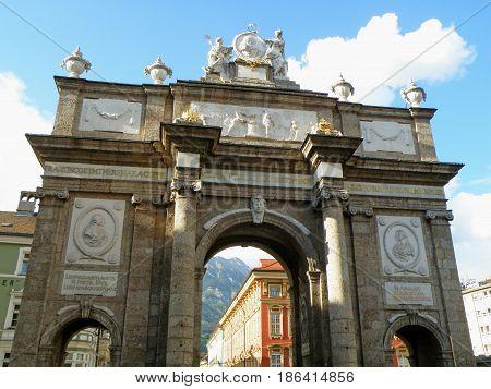 The Triumphpforte, Historic Triumphal Arch in the Heart of Innsbruck City, Austria