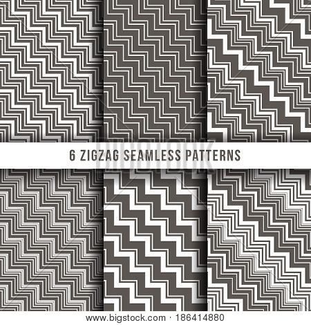 Diagonal zigzag line seamless pinstripe vector backgrounds. Diagonal geometric pattern collection illustration