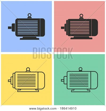 Electric motor vector icons set. Black illustration isolated for graphic and web design.