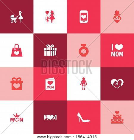 Mothers Day Icon Design Concept. Set Of 16 Such Elements As Relations, Invitation And Stiletto. Beautiful Symbols For Lady, Present And Pastry.