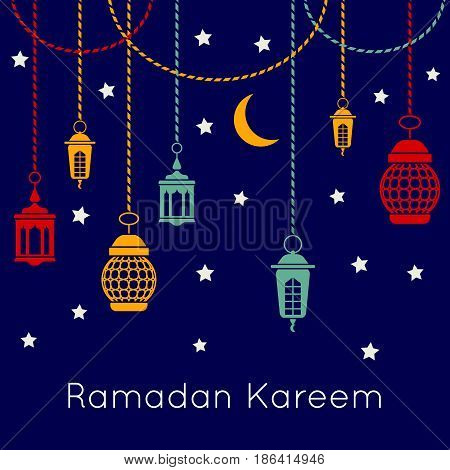 Ramadan Kareem celebration vector background with arabic lanterns. Islamic festival concept. Ramadan mubarak with lantern illustration