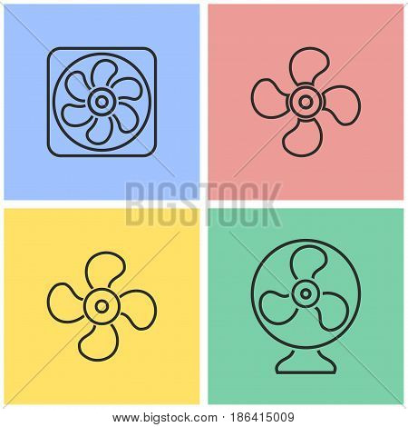 Fan vector icons set. Black illustration isolated for graphic and web design.