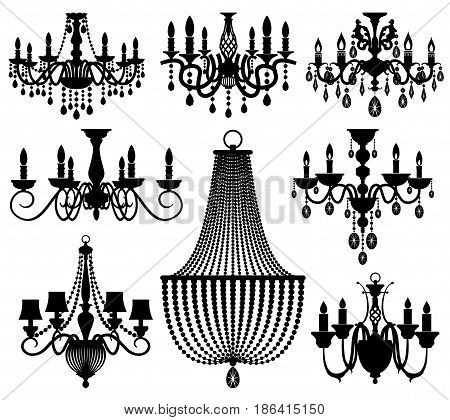 Vintage crystal chandeliers vector silhouettes isolated on white. Black silhouette chandelier with candle illustration