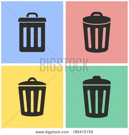 Bin vector icons set. Black illustration isolated for graphic and web design.