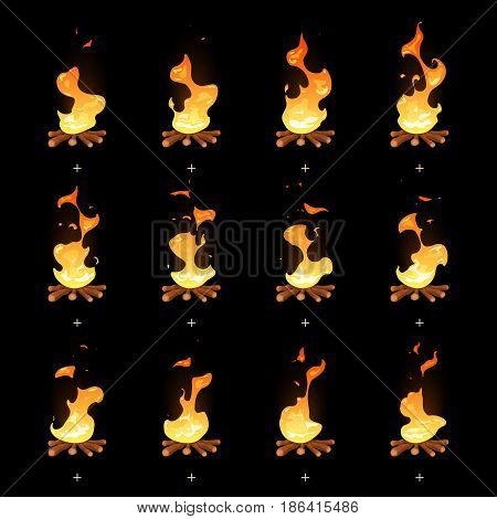 Cartoon vector bonfire flame animated sprites. Fire animation illustration, burning campfire ui