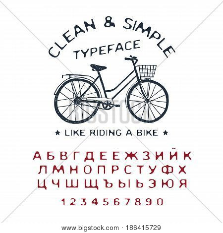 Hand drawn Clean & Simple font. Cyrillic alphabet vector letters numbers and signs. Vintage bicycle vector illustration.