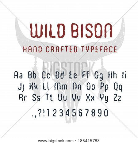 Hand drawn Wild bison font. Latin alphabet vector letters numbers and signs. Buffalo skull with feathers vector illustration.