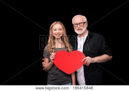 Grandfather And Granddaughter With Heart Symbol