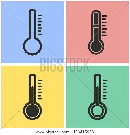 Thermometer vector icons set. Black illustration isolated for graphic and web design.