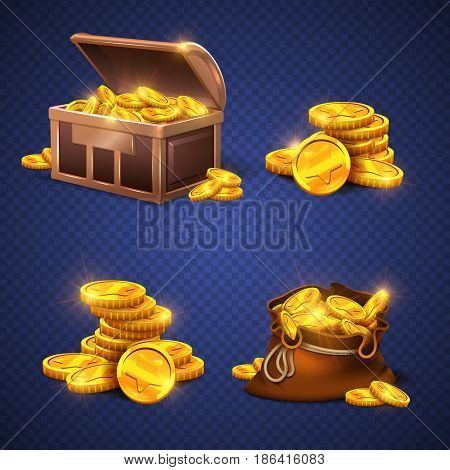 Wooden chest and big old bag with gold coins, money stack isolated. Video game vector rich assets illustration