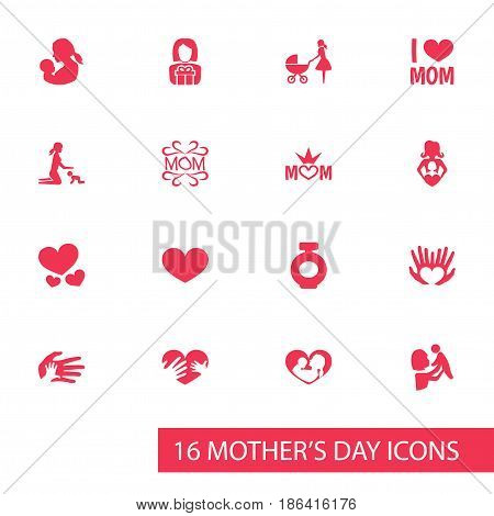 Mothers Day Icon Design Concept. Set Of 16 Such Elements As Fragrance, Mom And Baby. Beautiful Symbols For Mom, Person And Bottle.