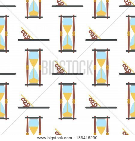 Clock seamless pattern. Endless hourglass background. Timer design backdrop. Time measurement illustration. Flat graphic design. Dial elements silhouettes