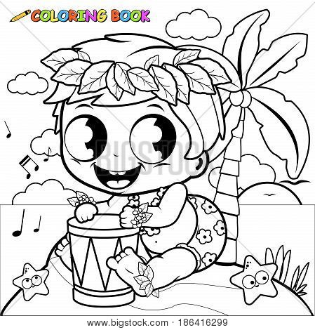 Hawaiian baby boy on an island playing music with the pahu drum. Coloring book page