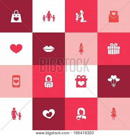 Mothers Day Icon Design Concept. Set Of 16 Such Elements As Gift To Mother, Mouth And Letter. Beautiful Symbols For Present, Soul And Heart.