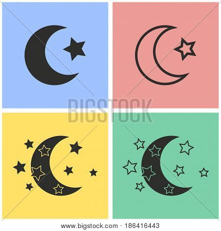 Moon star vector icons set. Black illustration isolated for graphic and web design.