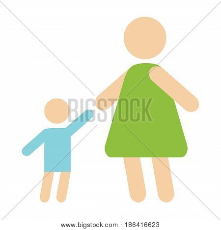 Mother baby silhouette happy family flat style and relationship characters lifestyle vector illustration. Relaxed friends group adult together romantic casual vacation retirement human.