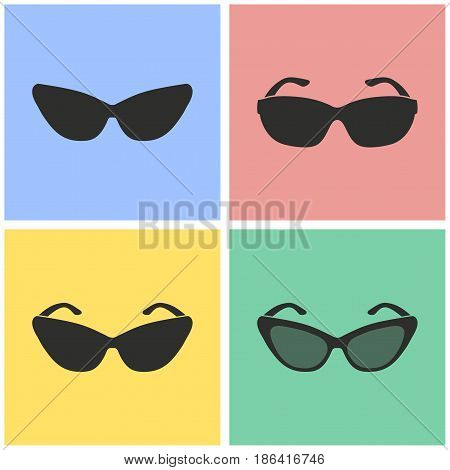 Sunglasses vector icons set. Black illustration isolated for graphic and web design.