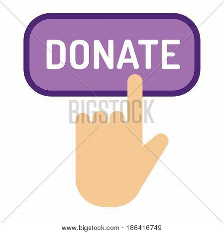 Vector donate concept hand and money of button in flat style. Donation gift charity isolated web donate button design sign contribute. Money giving symbol donate button