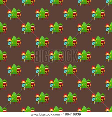 Christmas kids winter seamless pattern cartoon new year holidays characters vector illustration. Holiday toy scarf friend greeting december costume background.