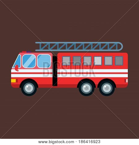 Fire truck car isolated cartoon silhouette. Fire truck mobile fast emergency service fast moving. Vector illustration rescue fire emergency truck.