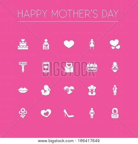 Mothers Day Icon Design Concept. Set Of 20 Such Elements As Soul, Female And Pastry. Beautiful Symbols For Screen, Plant And Smartphone.
