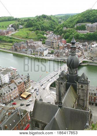 Church of Our Lady and Charles-de-Gaulle Bridge, View from the Citadel of Dinant, Wallonia Region, Belgium
