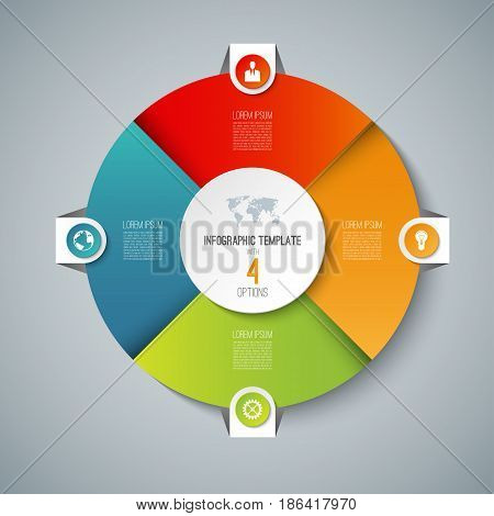 Infographic pie chart circle template with 4 options. Can be used as cycle diagram, graph, web banner, workflow layout