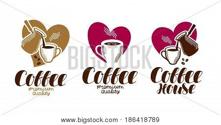 Coffee, coffeehouse label set. Cafe, cafeteria, hot drink logo or icon. Handwritten lettering vector illustration isolated on white background