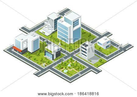 Isometric vector illustration of public constructions. Buildings and trees on 3d map fragment. Cartography picture. District template structure, model of public urban district with green park