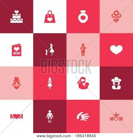 Mothers Day Icon Design Concept. Set Of 16 Such Elements As Pastry, Invitation And Missus. Beautiful Symbols For Perfume, Infant And Newborn.