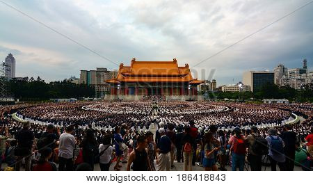 TAIPEI, TAIWAN - MAY 14, 2017 - Buddhist humanitarian organization Tzu Chi celebrating annual Mother's Day event at Chiang Kai-shek Memorial Hall in Taipei City