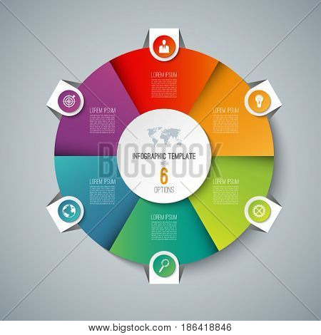 Infographic pie chart circle template with 6 options. Can be used as cycle diagram, graph, web banner, workflow layout