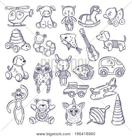 Hand drawn doodle toys for kids. Vector sketches isolate on white background. Toy kids pyramid fish and monkey, illustration of dog and cat toys