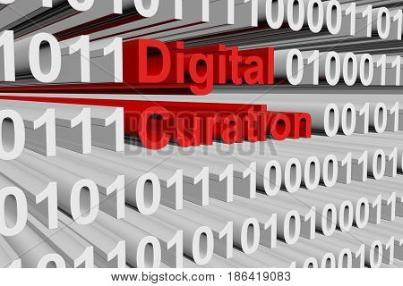 Digital curation in the form of binary code, 3D illustration