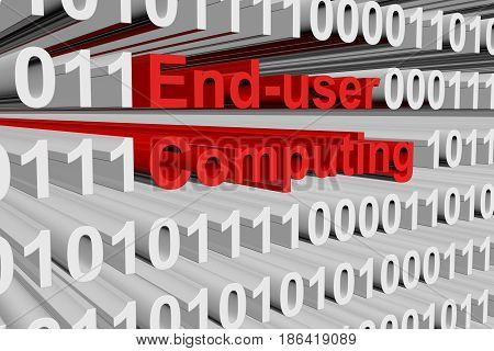 End user computing in the form of binary code, 3D illustration