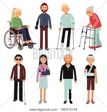 Flat style illustration set of disabled people in different poses. Vector pictures of hospital patients isolated. Invalid disabled person in wheelchair, disability man