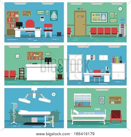 Illustrations of empty medical offices. Different rooms in hospital. Vector pictures set. Medical room with equipment, interior of reception room
