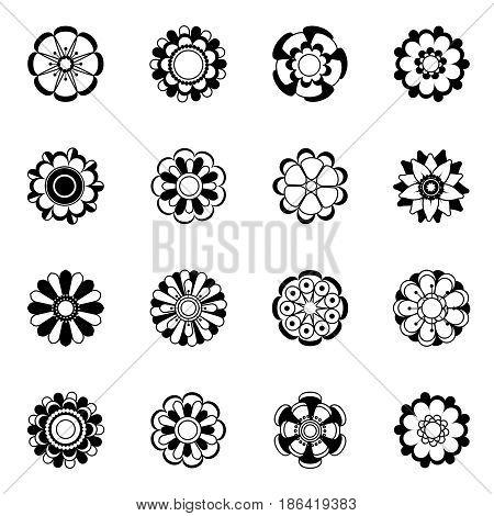 Monochrome floral icon set. Black vector flowers illustrations isolate. Black flower silhouette collection, design of monochrome flowers plant