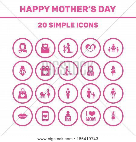 Mothers Day Icon Design Concept. Set Of 20 Such Elements As Letter, Daughter And Gift To Mother. Beautiful Symbols For Newborn, Shopping And Son.