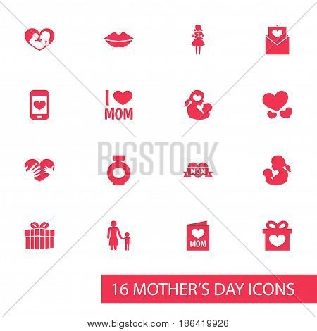 Mothers Day Icon Design Concept. Set Of 16 Such Elements As Letter, Missus And Invitation. Beautiful Symbols For Perfume, Loving And Child.
