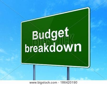 Finance concept: Budget Breakdown on green road highway sign, clear blue sky background, 3D rendering