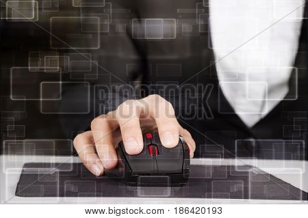 Hand Working With Mouse Of Computer