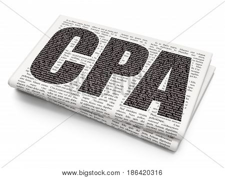 Business concept: Pixelated black text CPA on Newspaper background, 3D rendering